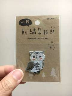 Embroidery Owl Sticker