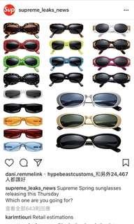預訂 Supreme Week 13 太陽眼鏡