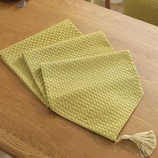 PO Royal Yellow Textured Table Runner Drape