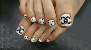 Chanel Toe nails customize press on nails