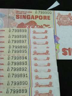 Error cut 12pcs sg $10 running number  old notes