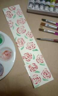 Watercolor Bookmark Rose
