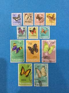 1973 Tanzania (SG 159-171) Butterflies 12 Values Used Short Set