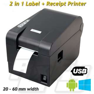 20 - 60mm Thermal Label Receipt Printer Barcode POS RJ11 USB Window Android 235b