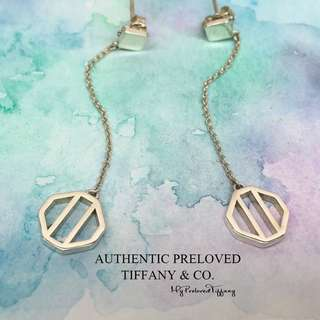Excellent Authentic Tiffany & Co Paloma Picasso Zellige Dangling Drop Earrings Silver