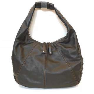 AUTHENTIC TODS Miki Hobo Shoulder Tote in Dark Brown