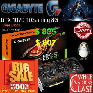 "Gigabyte GTX 1070 Ti Gaming 8G GeForce®. ( Special Offer Till 21 May 2018 ) ""While Stock Last.."""