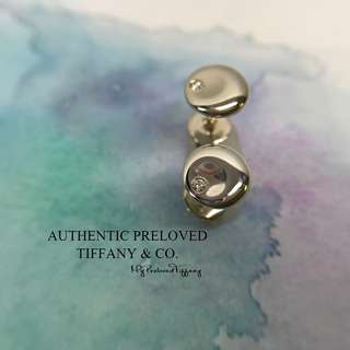 Excellent Authentic Tiffany & Co Elsa Peretti Mini Round Disc Diamond Stud Earrings