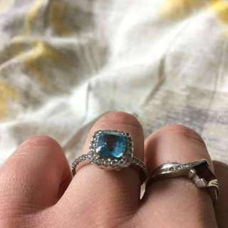 Blue Spinel and White Sapphire Frame Ring in Sterling Silver - Size 7