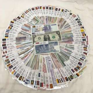 100 Countries 100 Mint UNC Genuine Real Banknotes Currency With Individual Sleeve and Flag Label