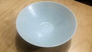 80年代仿汝窯天青釉雕花碗
