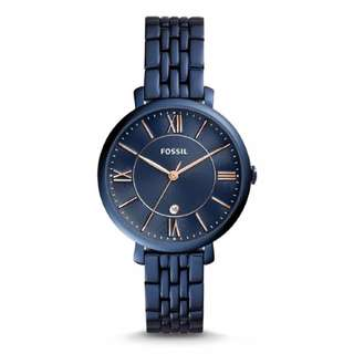 Fossil Women ES4094 Jacqueline Three Hand Date Blue Stainless Steel Watch (Blue)