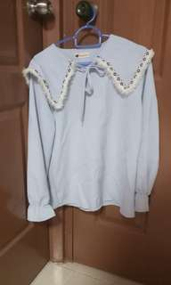 Light blue school girl collar top