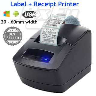* 20 - 60mm Thermal Label Receipt Printer Barcode POS RJ11 USB Window Android 2120