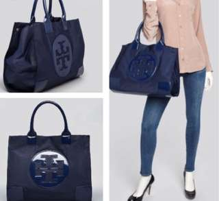 Tory Burch Large Ella Tote (Navy Blue)