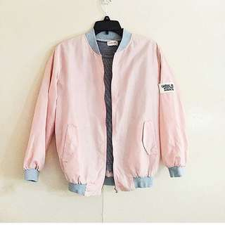 Salmon pink satin bomber jacket