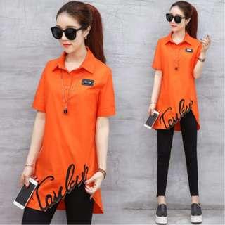 【全新轉賣】2XL女裝短袖新款上衣夏季不規則下襬橘色中長款襯衫
