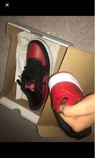 Black and Red air force 1 Size 6.5