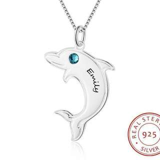 Animal Dolphin Necklace Personalized Engrave Name Birthstone Necklaces Jewelry