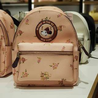 Coach x Disney F29354 Mini Charlie Backpack with Minnie Floral Print Limited