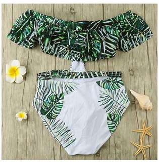 Green Offshoulder One piece Bikini