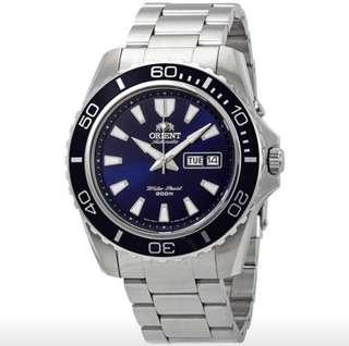 only hk$900, 100% new 日本東方錶Orient Men's Orient Mako XL FEM75002DR Blue Dial Stainless Steel Men's Watch手錶