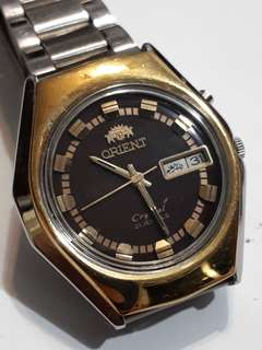 ORIENT CRYSTAL gold plate Automatic Watch Date & Day display calendar  Bezel 37mm 21 jewels