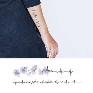 BN Instock Temporary Tattoo Temp Tattoos Flower Petals With Stem Floral Cursive Calligraphy Purple