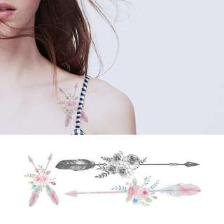BN Instock Temporary Tattoo Temp Tattoo Arrow Tribal Feathers Rose Floral Feather Nature Large