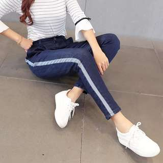 (XL~5XL) Fashion Stripe Women's Jeans Women's Trousers