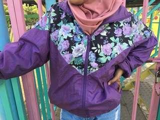 Jaket Bunga Bunga Ungu Parasut Retro Vintage Parachute Jacket Wind Breaker Lavender Rose Motif Pattern
