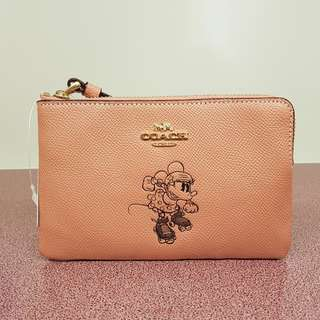 Coach x Disney MINNIE MOUSE CORNER ZIP WRISTLET Limited Edition PINK F30004