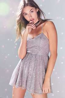 Urban Outfitters Silver Sparkly Romper