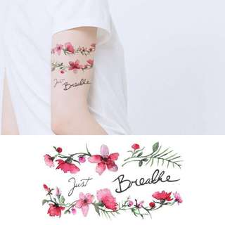 BN Instock Temporary Tattoo Temp Tattoo Petal Leaf Floral Red Vibrant Nature Just Breath