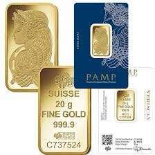 (Gold bars of different weights - PAMP Pure Gold 999)
