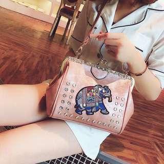 Embroidery Dumbo Frame Handbag