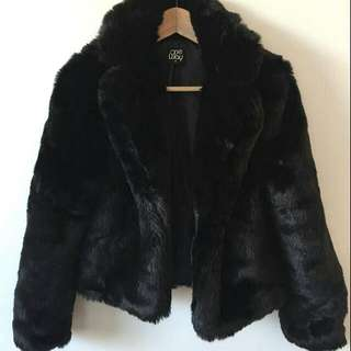 Black One Way Fur Coat Size 8