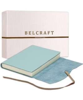 Capri Medium Leather Journal / Notebook, Handmade Classic Italian Style, (12x17 cm) Aqua