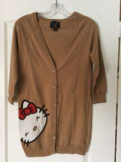 Hello Kitty three quarter length sleeve brown button up cardigan from Forever21 size S Small