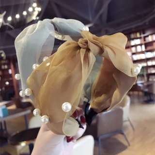 新款純色布藝超仙蕾絲網紗釘珠寬邊蝴蝶結髮箍頭箍