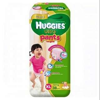 Huggies Ultra Pants for Girls XL 38 pcs