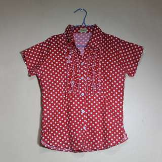 Red Polka Dotted Blouse
