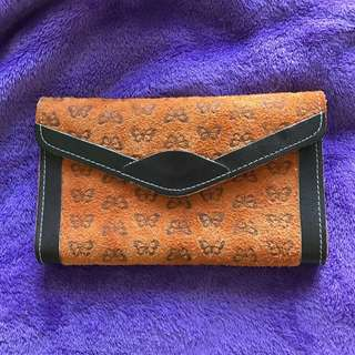 Camel coloured suede wallet