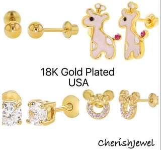 Gold earrings screwback USA