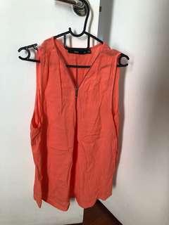 Sportsgirl zip through orange top, size 14