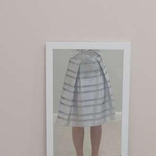 *SALE* CARLA ZAMPATTI Striped Midi-Skirt in Silver/Grey Size: AU8