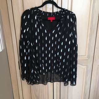 BNWT Black and Silver Boho Blouse from Jennifer Lopez