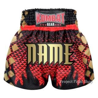 Customize Kombat Gear Muay Thai Boxing MMA Shorts Gradient Red w Black Fire Flames