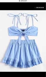 Two piece blue zaful set
