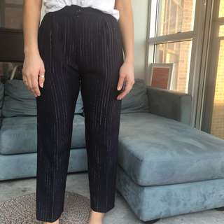 Navy and silver pinstripe pants
